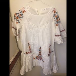 Chic wish white embroidered cotton cover up